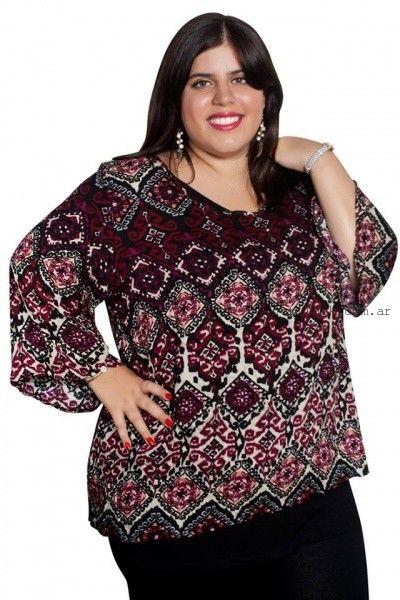 blusas estampadas talles grandes  Syes invierno 2016