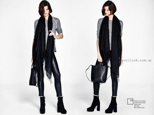 calza de cuero  Etiqueta negra mujer invierno 2016