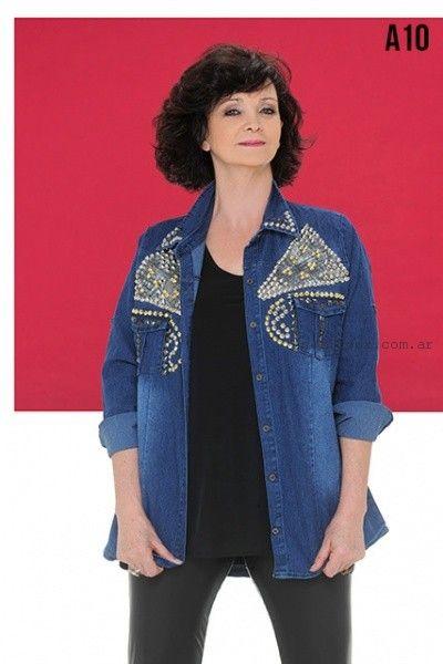 camisa denim bordada talles grandes Loren invierno 2016