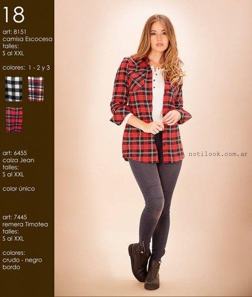 camisa escocesa mujer okoche invierno 2016