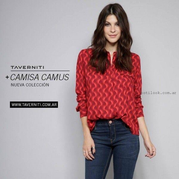 camisa estampada  Taverniti jeans invierno 2016