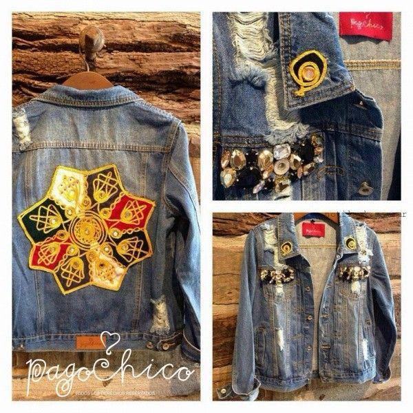 campera de jeans con apliques y bordados Pago chico invierno 2016