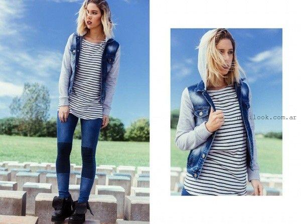 campera de jeans con mangas de algodon invierno 2016 diosa luna jeans
