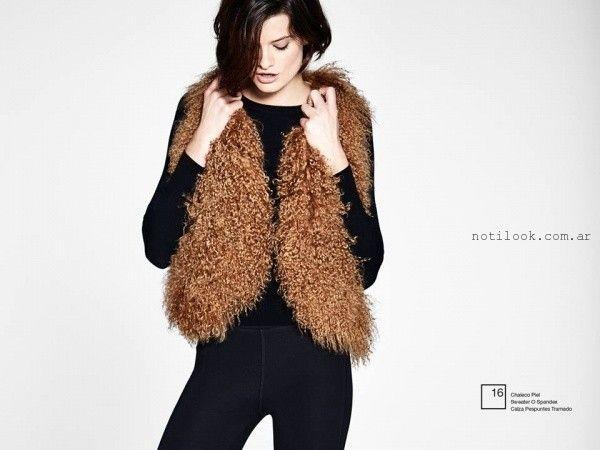 chaleco de piel sintetica  Etiqueta negra mujer invierno 2016