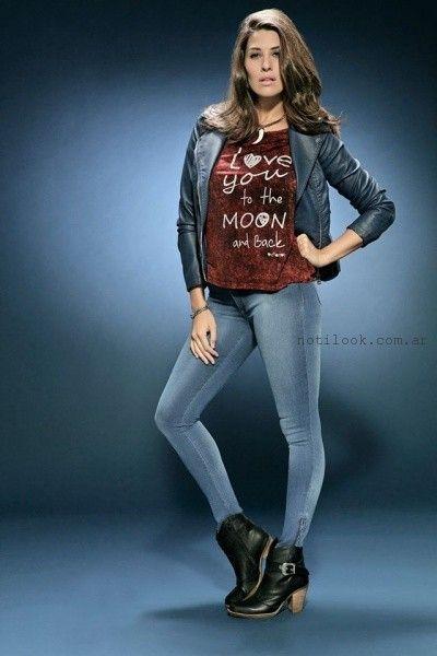 jeans chupin y remeras con impresiones octanos jeans invierno 2016