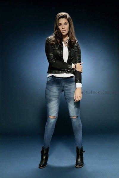 jeans con roturas y camperas con apliques en cuero octanos jeans invierno 2016