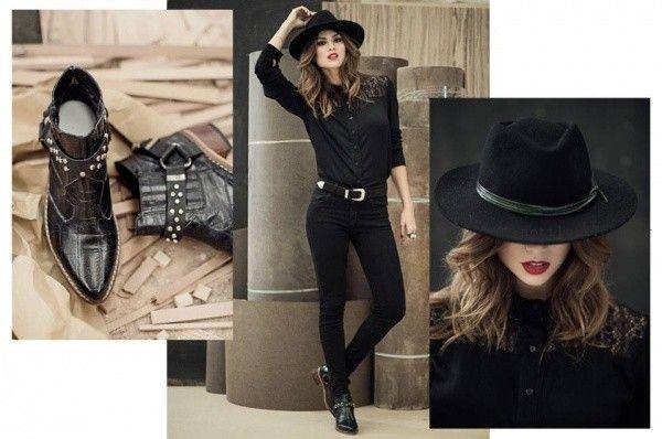 look total black con pantalon y camisa con encaje negros Oshum invierno 2016