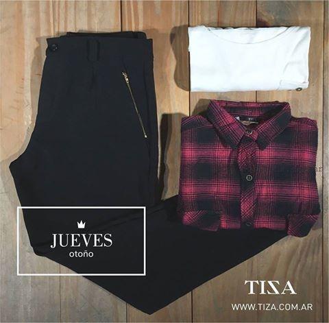 pantalon de vestir y camisa escocesa Tiza invierno 2016