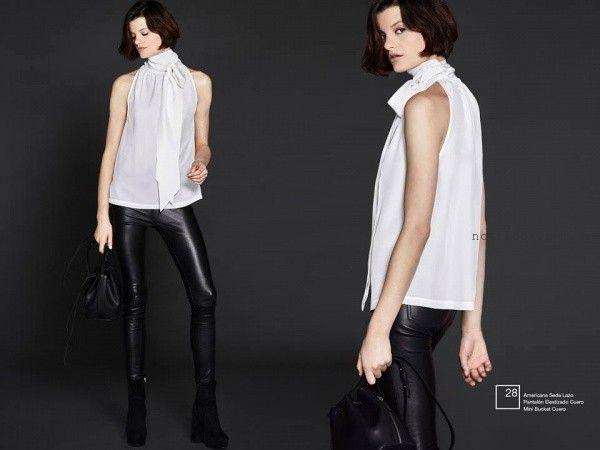 pantalon elastizado de cuero con camisa Etiqueta negra mujer invierno 2016