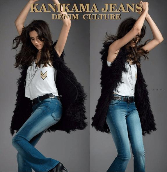 pantalon y chaleco de piel sintetica Kanikama Jeans invierno 2016
