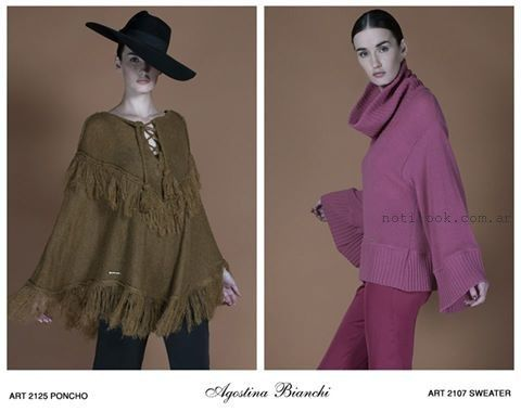 poncho y sweater con mangas anchas Agostina bianchi tejidos invierno 2016
