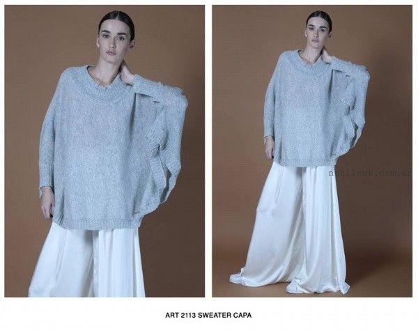 sweater estilo poncho Agostina bianchi tejidos invierno 2016