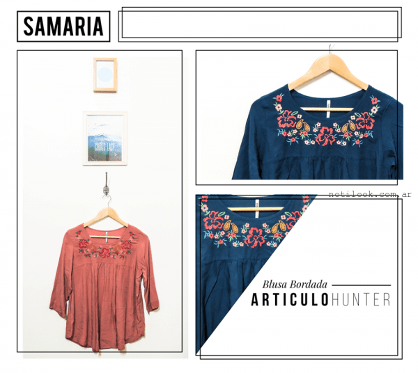 blusa bordada de tela gamuzada samaria invierno 2016