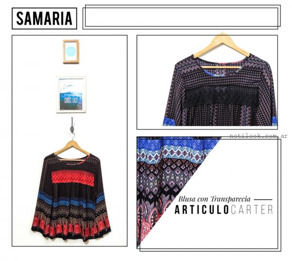 blusa con aplique de encaje samaria invierno 2016