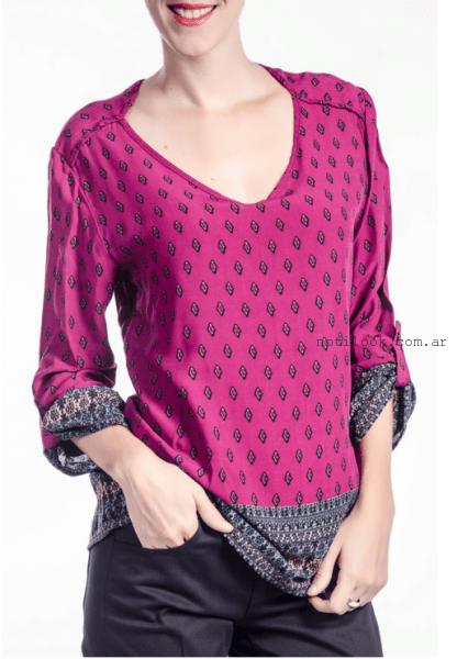 blusa de seda estampada estilo indu NMD Normandie invierno 2016