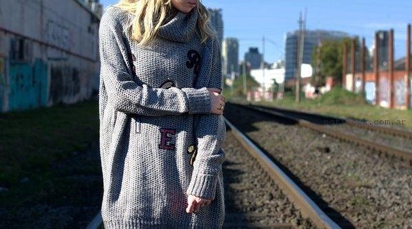 buzo tejido largo cuello polera Pepe Jeans invierno 2016