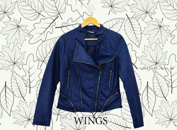 campera de cuero azul Wings invierno 2016