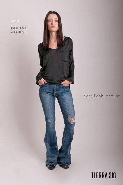 jeans roto y blusa de seda Tierra 316 invierno 2016