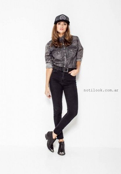 look total demin con jeans chupin Soulfly concept invierno 2016