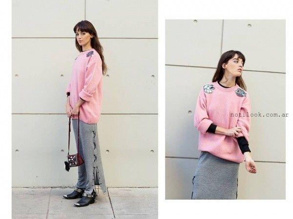 maxi sweater con apliques estate atenta otoño invierno 2016