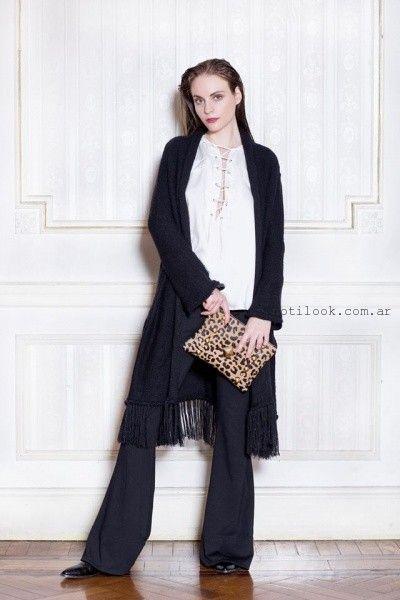 saco largo tejido con flecos Millie invierno 2016