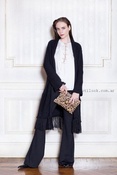 87178ad7a saco largo tejido con flecos Millie invierno 2016 – Moda Mujer Argentina