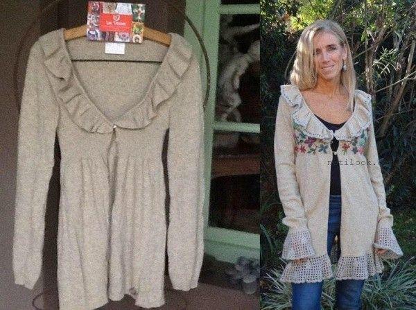 saco tejido con bordado artesanal Las Dumas invierno 2016