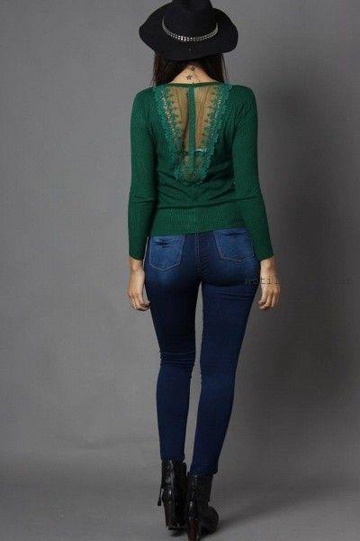 sweater tejidos con aplique de encaje Moda destino invierno 2016