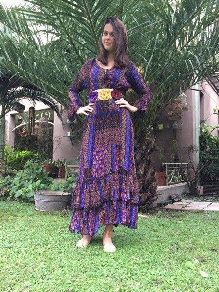 vestido largo de dia con mix de estampas Las Dumas invierno 2016