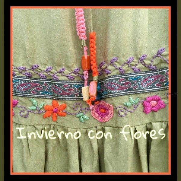 vestidos con bordados en hilo Las Dumas invierno 2016