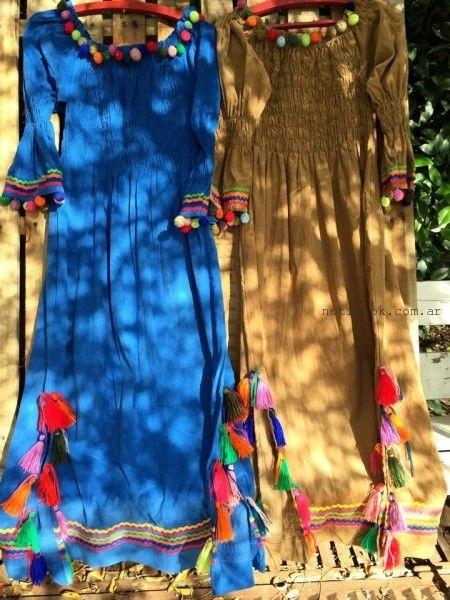 vestidos largos de dia artesanales Las Dumas invierno 2016