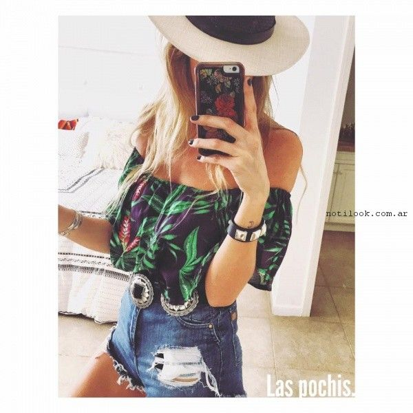 short y blusa estampada verano 2017 - Las Pochis