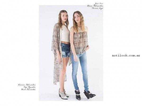 blusa y kimono de gasa estampada la cofradia primavera verano 2017