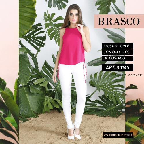 pantalon blanco chupin con blusa brasco primavera verano 2017