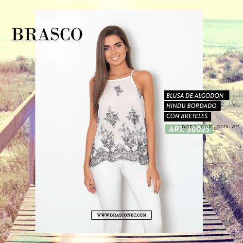 pantalon blanco con blusa de gasa bordada brasco primavera verano 2017