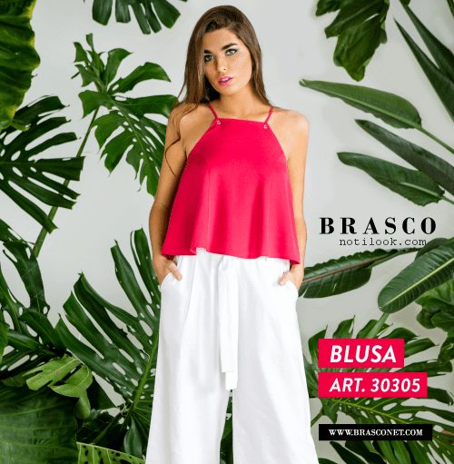 pantalon palazzo blanco y blusa fucsia brasco primavera verano 2017