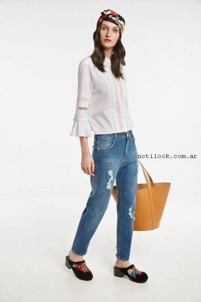 Blusa blanca y jeans primavera verano 2017 - Maria Cher