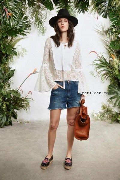 Blusa encaje y short de jeans  primavera verano 2017 - Maria Cher