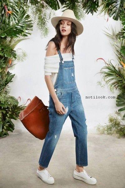 Jardinero de jeans largo  primavera verano 2017 - Maria Cher