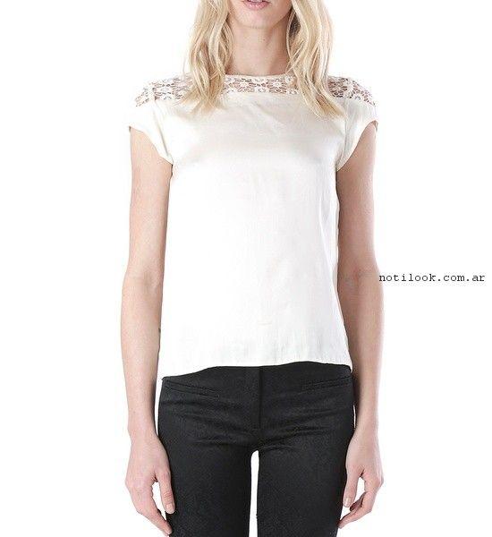 blusa blanca con encaje  verano 2017 - Markova