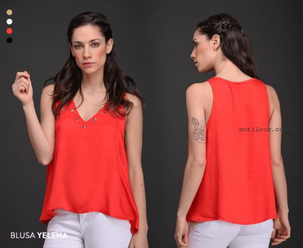 blusa de voile satinado Brandel primavera verano 2017