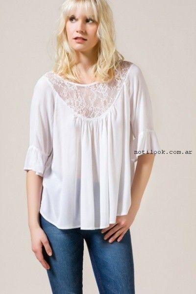 blusa estilo bohemia con encaje portsaid verano 2017