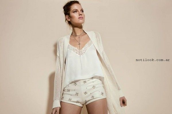 blusas con encaje y short bordado Pura Pampa Primavera Verano