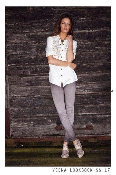 camisa blanca vesna primavera verano 2017