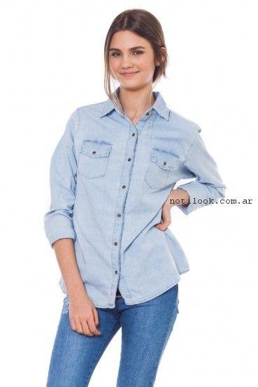 camisa de jeans mujer juvenil verano 2017 - 47 Street