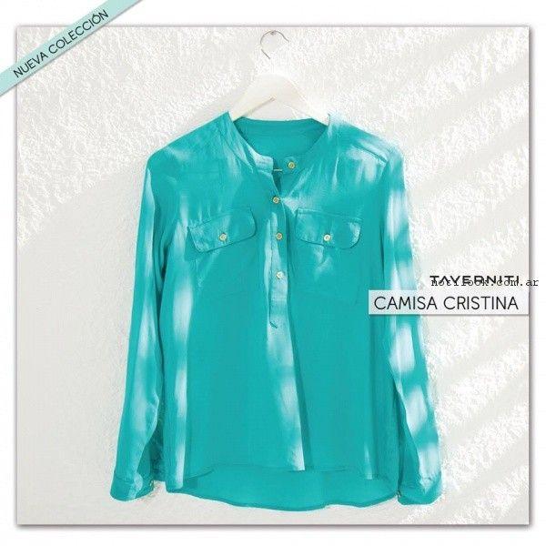 camisa sin cuello mujer taverniti jeans primavera verano 2017