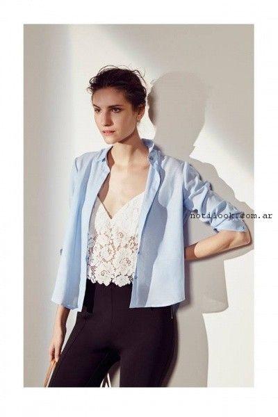 pantalon de vestir elastizado y camisa Clara Ibarguren verano 2017