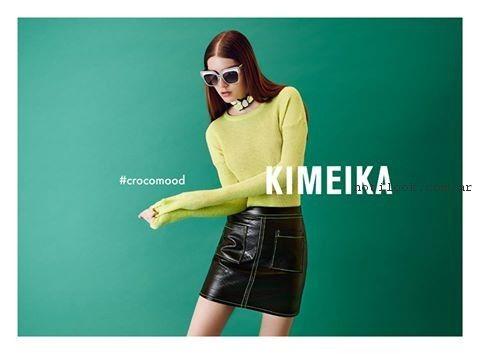 sweater y falda simil cuero verano 2017 - Kimeika