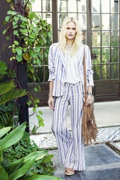 traje a rayas de lino mujer bendito pie verano 2017