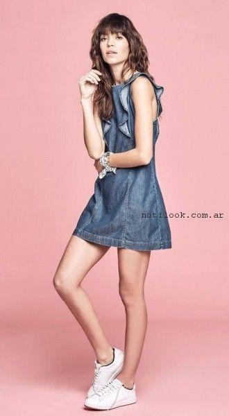 Vestido corto de jeans primavera verano 2017 - Melocoton